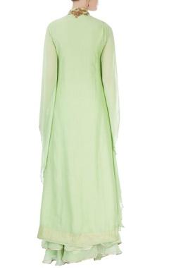 Pista green front slit kurta & skirt