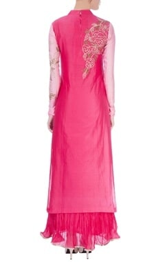 Hot pink maxi with embellished kurta