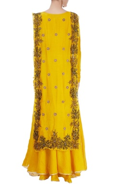 Yellow maxi with embroidered over layer