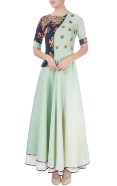 Mint green maxi with printed patch
