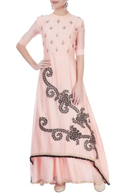 Pink embroidered kurta lehenga set
