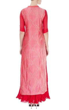 Red maxi dress with salmon pink kurta