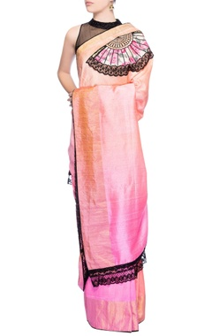 Light pink & peach shaded sari with applique