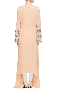 Beige asymmetric long kurta
