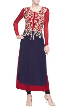 Red & blue kurta with floral embroidery