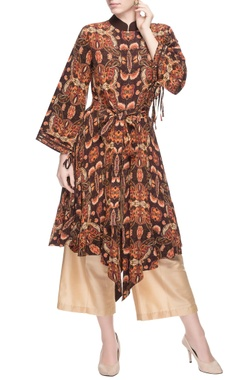 Brown printed kurta & cream culottes