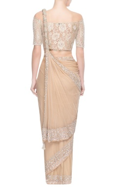 Beige sari with floral motif