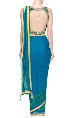 Blue & green embellished sari