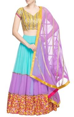 blue & lavender lehenga set with embroidery
