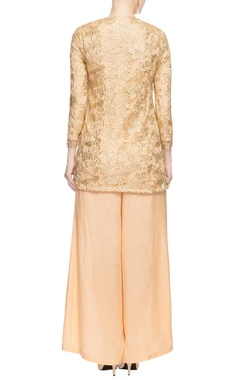 Beige pant set with lace top