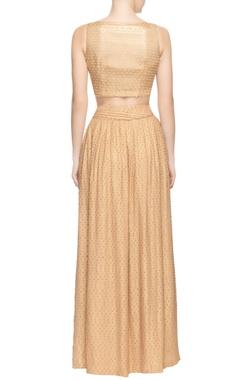 Beige skirt set with textured effect