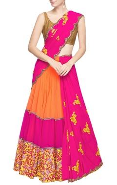 Magenta & light orange lehenga sari with embroidery