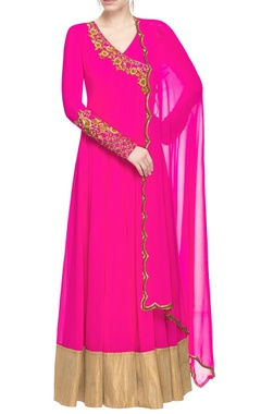 Pink embroidered angrakha with dupatta