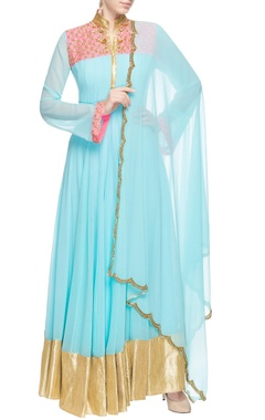 Powder blue anarkali set with sequin embroidery