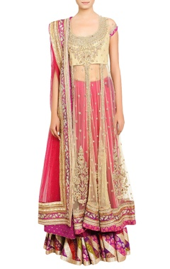 gold & fuschia pink embellished lehenga set