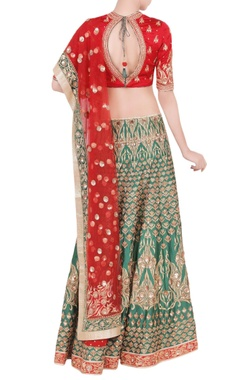 red & emerald green embellished lehenga set