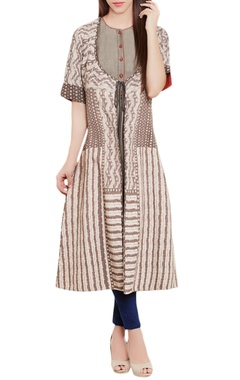 Grey kurti with printed jacket