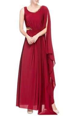 Maroon gown with sequin details