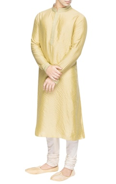 Yellow kurta with green embroidery