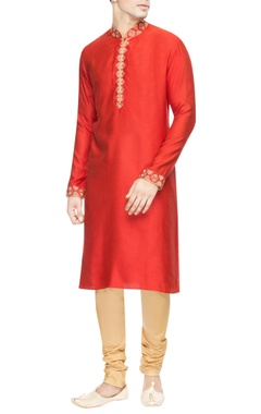 Red kurta set with phulkari embroidery