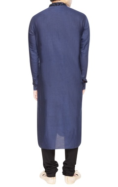 Blue kurta set with black embroidery