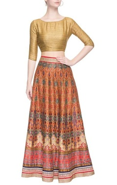 multi colored printed long skirt set