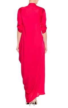 Red cowl draped maxi