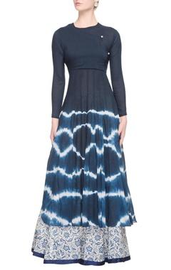 Dark blue tie dye dress with printed skirt