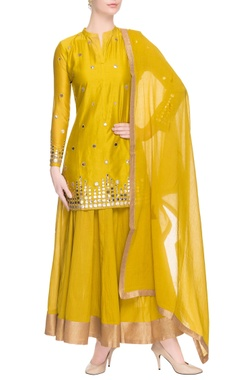Canary yellow kurta lehenga with mirror work