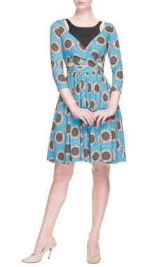 Blue sunflower printed dress