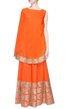 Orange gharara pant set with embroidery