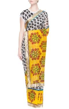 White sari with black pacman prints