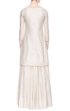 Off-white kurta set with pearl embroidery