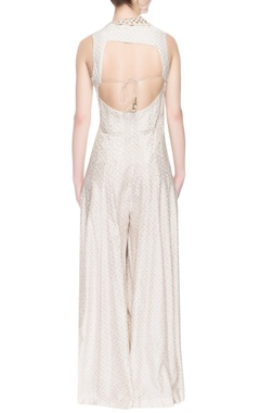 Off-white jumpsuit with foil embroidery