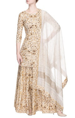 Gold lehenga set with sequin embroidery