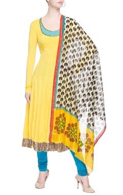 Yellow anarkali set with printed dupatta