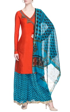 Red embroidered angrakha set