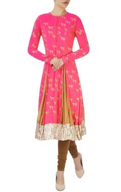 Hot pink printed kurta