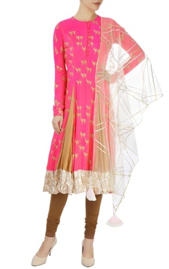 Pink printed anarkali set