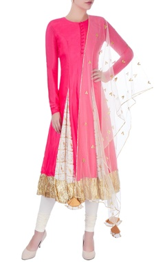 Hot pink anarkali & dupatta