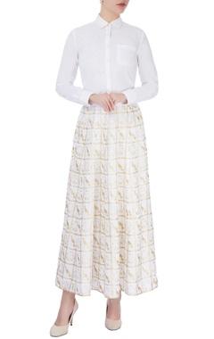 White printed maxi skirt