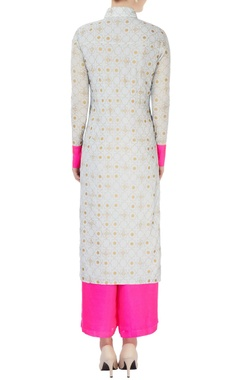 Grey printed long kurta & palazzos