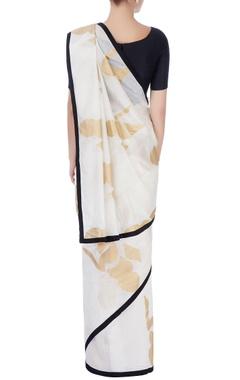 White & gold printed sari