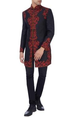 Black appliqued sherwani with embellishments