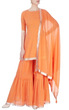 Orange embellished sharara set