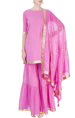 Candy pink short kurti with sharara