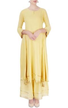 yellow kurta with palazzo & dupatta