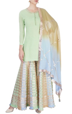 Pista green sharara set
