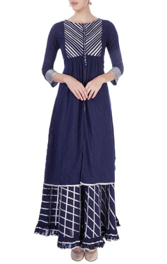navy blue kurta & skirt