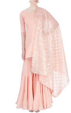 Peach & silver sharara set